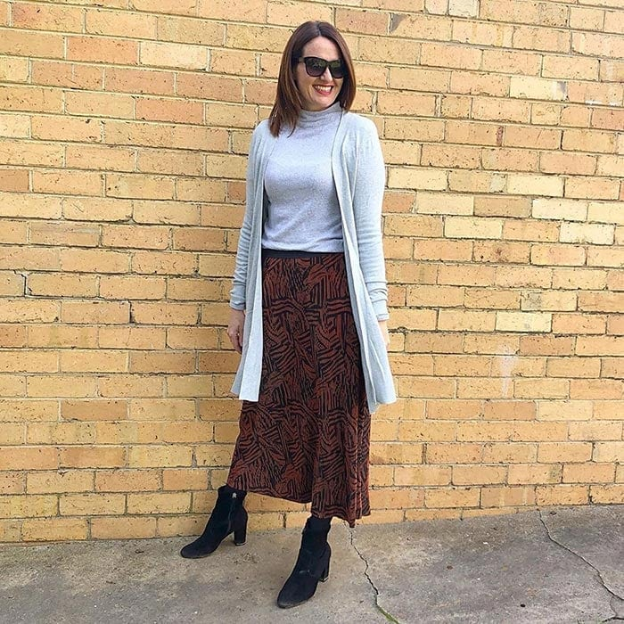 How to wear booties - Karen wears booties with a maxi skirt | 40plusstyle.com