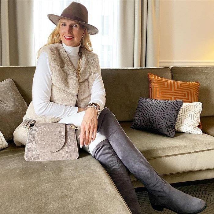 Winter outfits for women - Nadine in neutrals | 40plusstyle.com