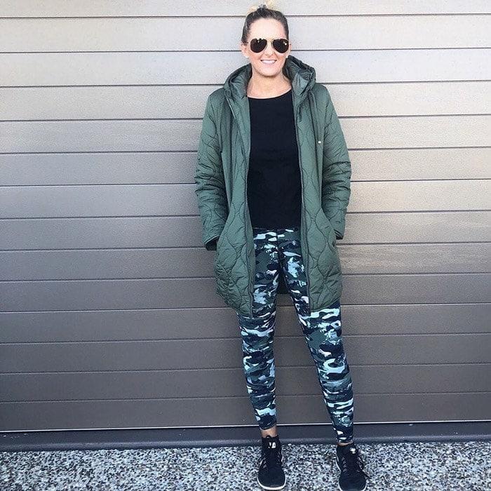 Nic wears a stylish pair of camo leggings   40plusstyle.com