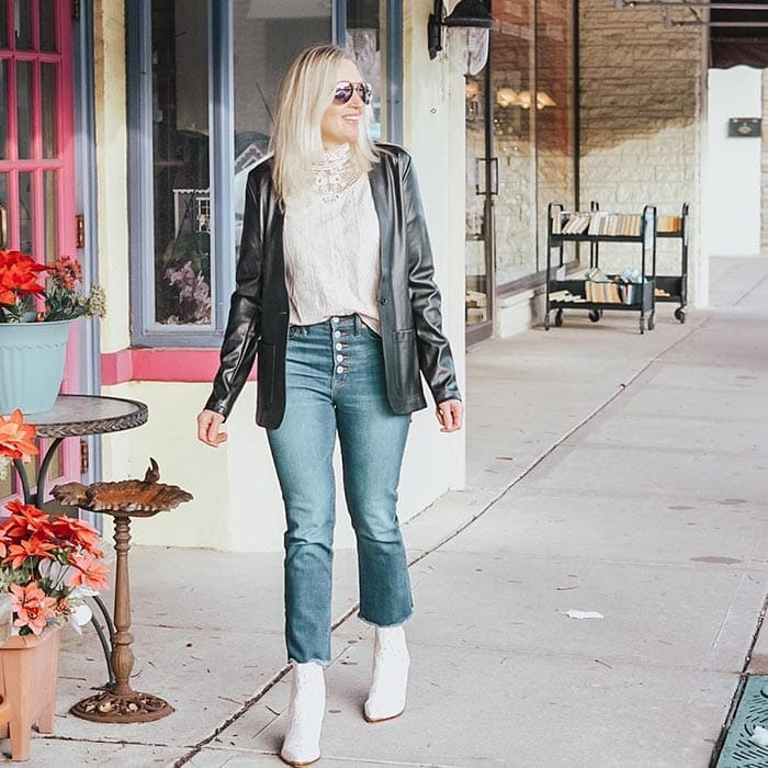 Jill in cropped pants and white boots | 40plusstyle.com