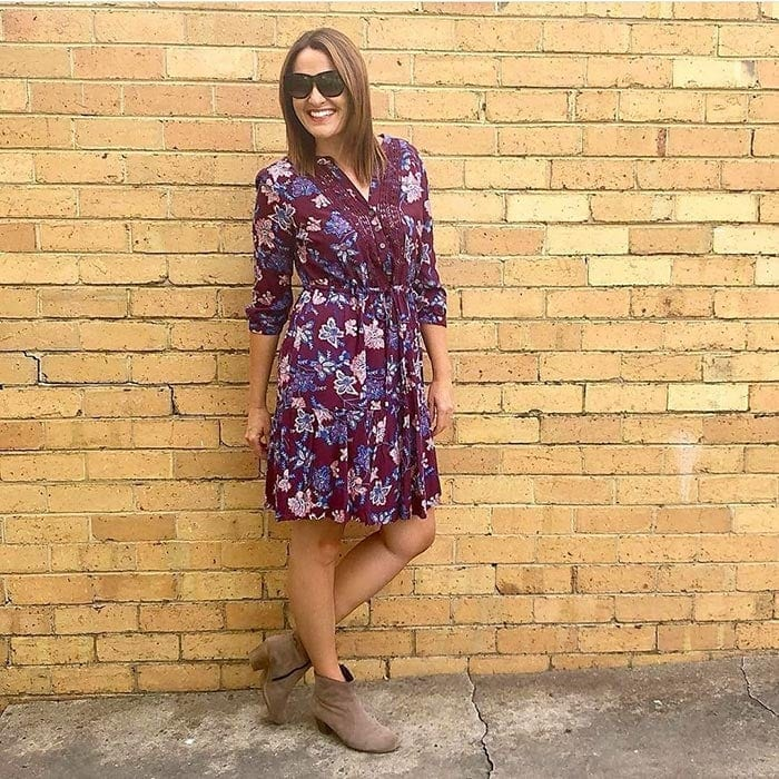 Shoes with arch support - Karen wears ankle booties with her dress | 40plusstyle.com
