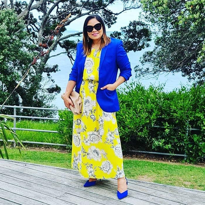 Liza wearing cobalt blue and yellow | 40plusstyle.com