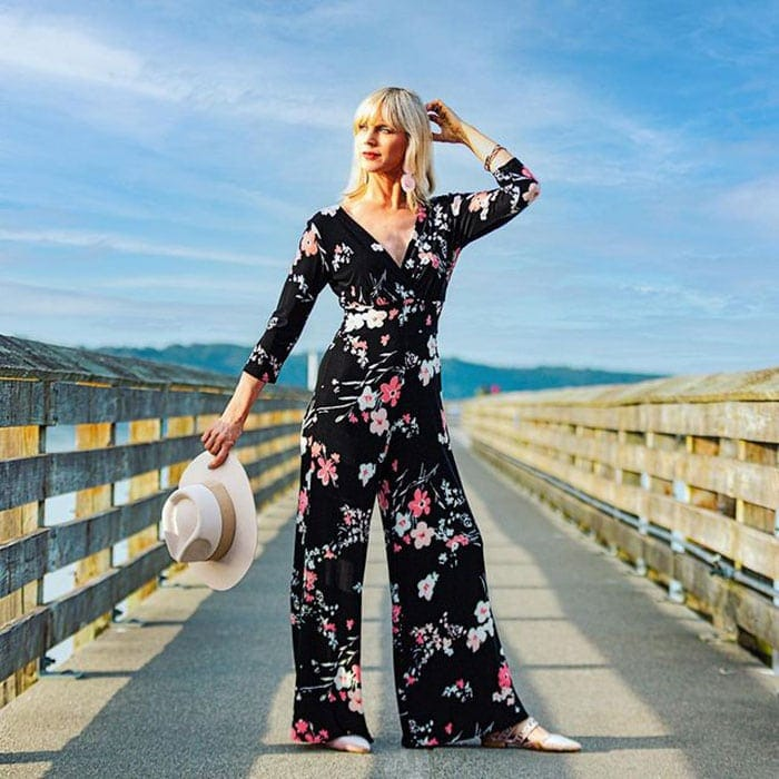 Summer jumpsuit for women - Catherine in a floral jumpsuit   40plusstyle.com