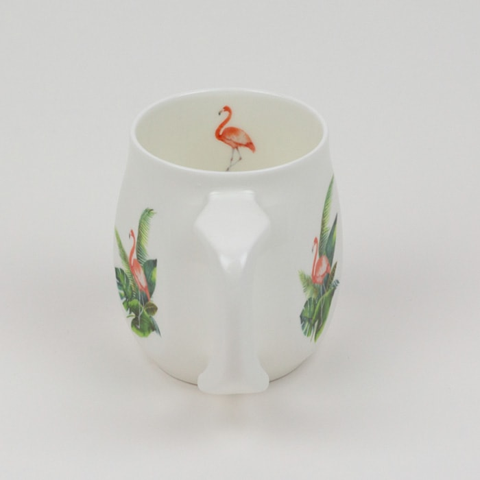 Flamingo mug made from fine bone china and mad in Britain.