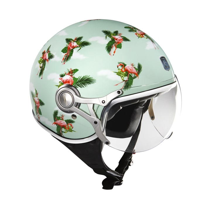 casque moto jet Exklusiv Freeway Flamingo print design flamant rose