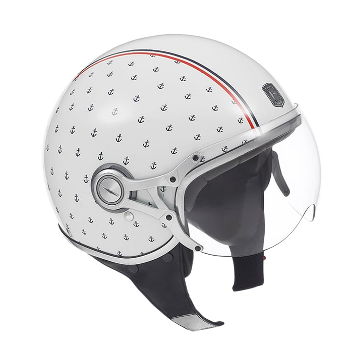 Casque moto jet EXKLUSIV Freeway navy blanc
