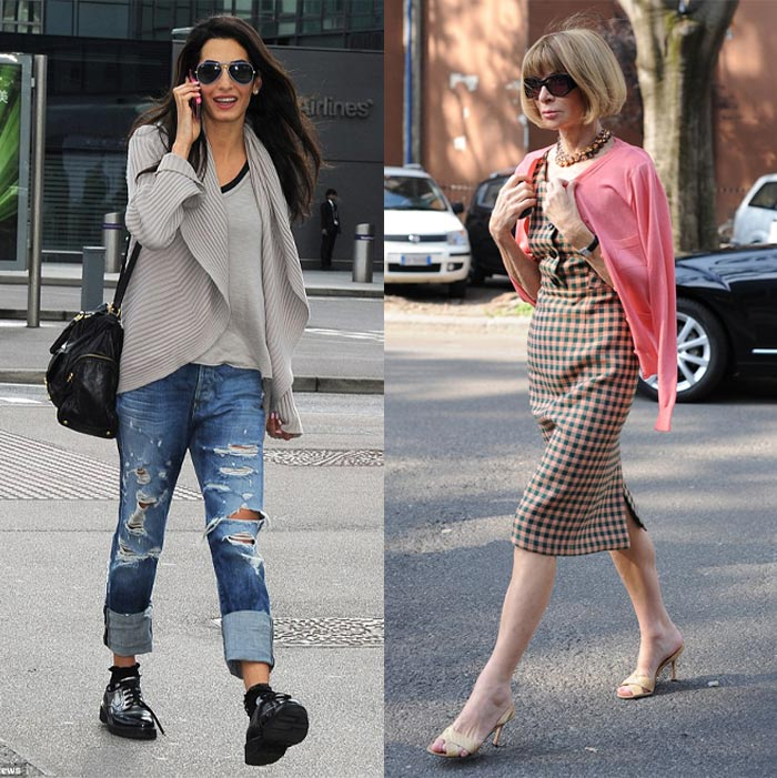 Knitwear outfits worn by Amal Clooney and Anna Wintour | 40plusstyle.com