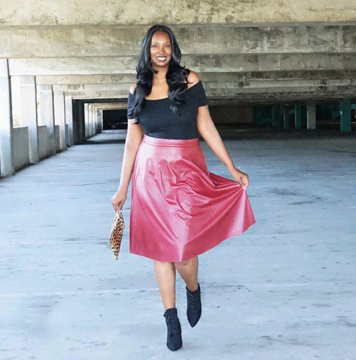 leather skirts don't have to be black | 40plusstyle.com