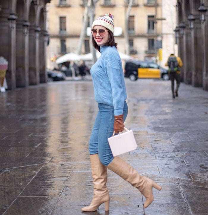 How to wear a turtleneck - Patricia in a blue turtleneck sweater and jeans | 40plusstyle.com