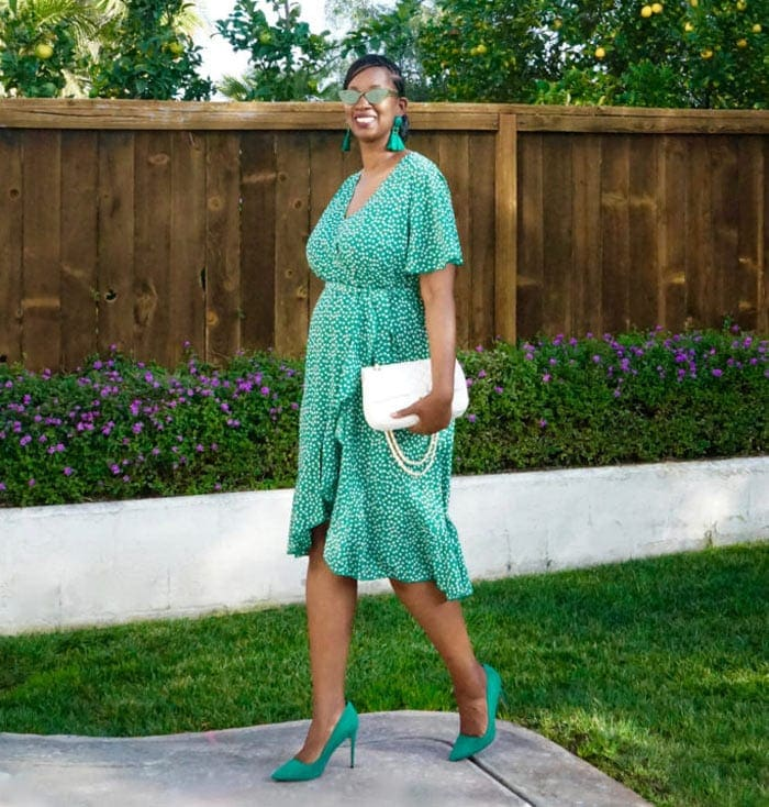 green wrap dress with white accessories | 40plusstyle.com