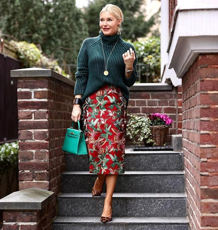 Petra wearing red, green and leopard print | 40plusstyle.com