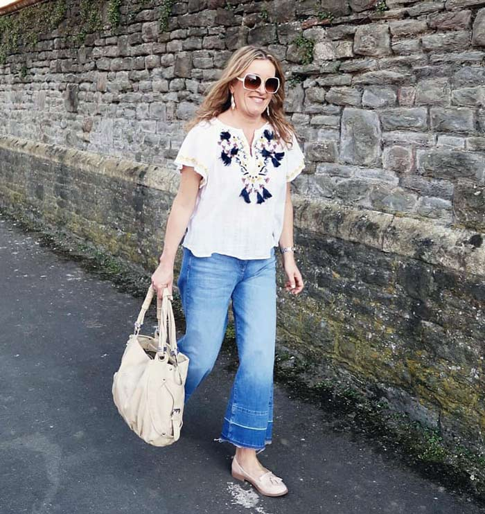 Gail styles her loafers in a boho way | 40plusstyle.com