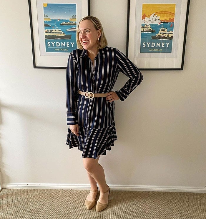 How to dress when short - Kylie in a striped dress | 40plusstyle.com