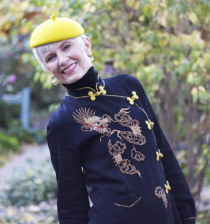 Judith in chinese collared top and yellow hat | 40plusstyle.com