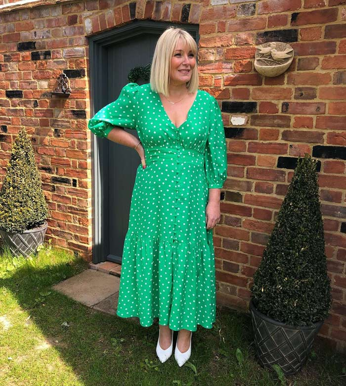 Sam in a polka dot maxi dress | 40plusstyle.com