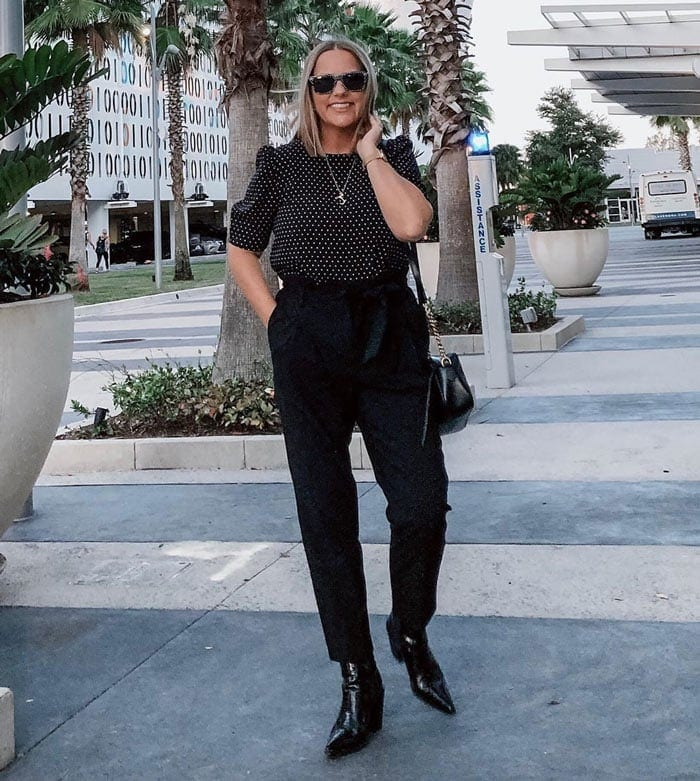 polka dots and black pants for the pear shape | 40plusstyle.com
