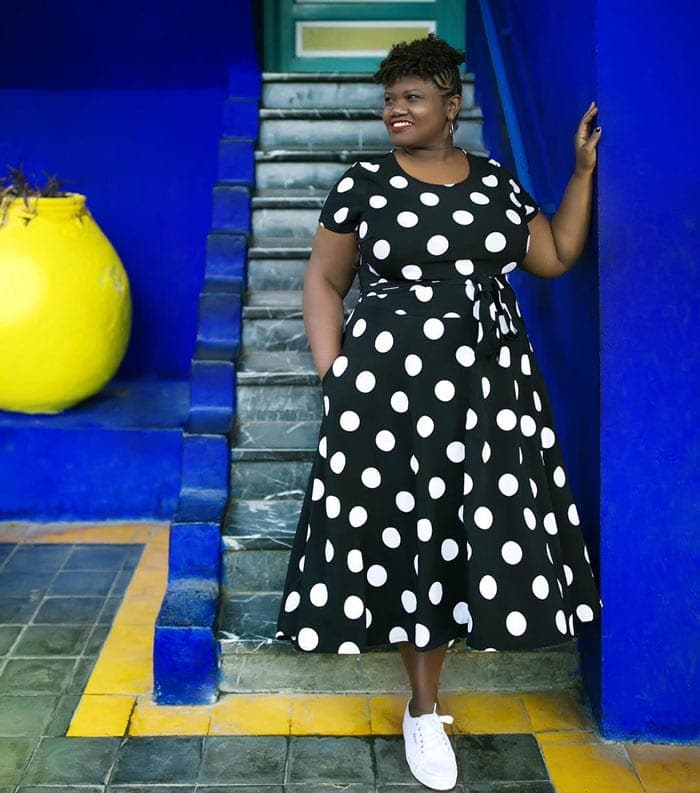 polka dot midi dress | 40plusstyle.com