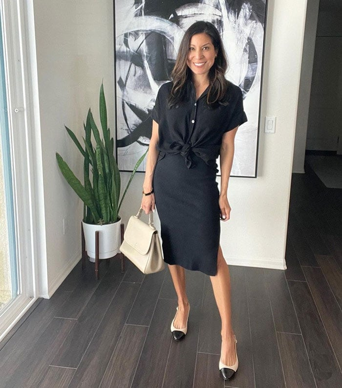 How to dress when you are petite - Adaline in a black top and skirt | 40plusstyle.com