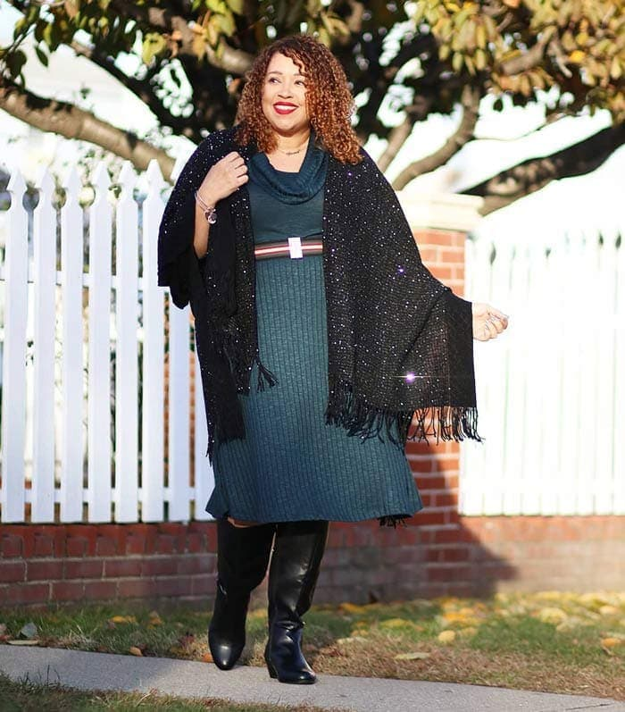 Sandra wears a sweater dress | 40plusstyle.com