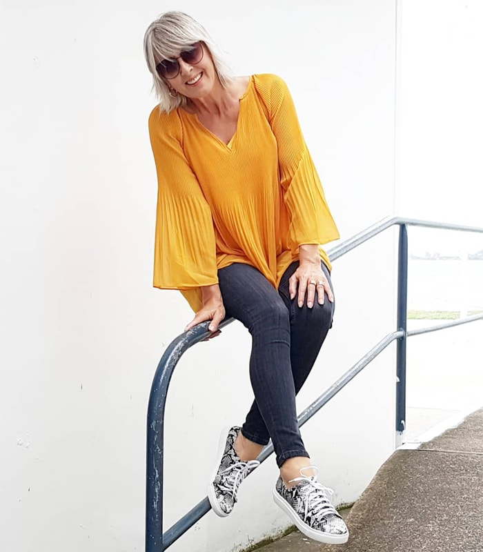 Yellow blouse outfit | 40plusstyle.com
