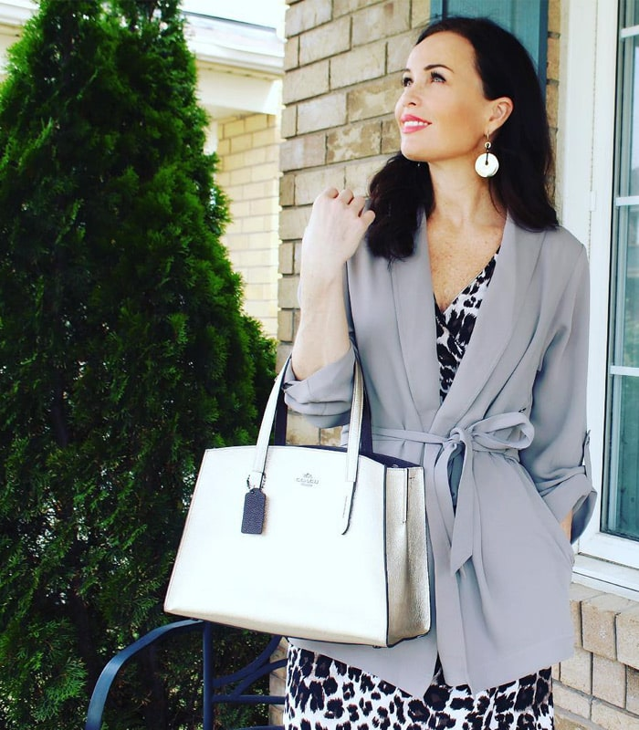 @workinglook wearing a wrap blazer | 40plusstyle.com