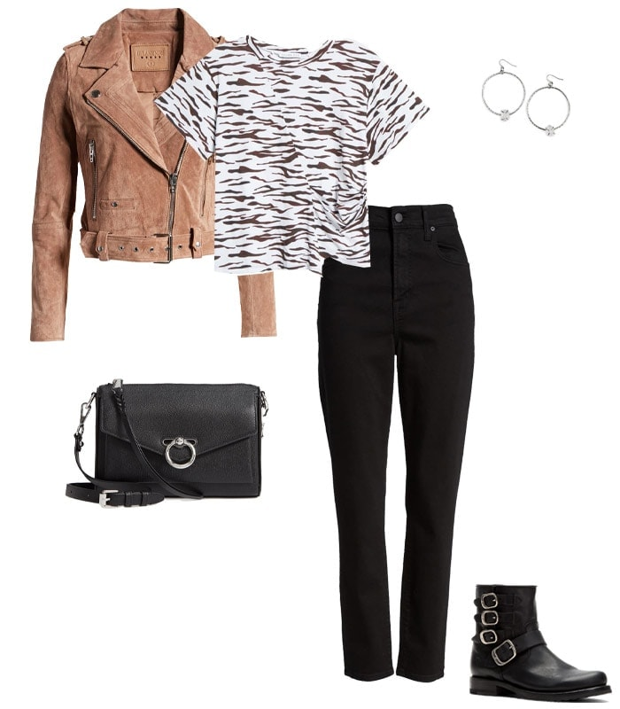 What to wear to a concert - a moto jacket and jeans | 40plusstyle.com