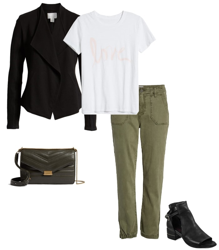 What to wear to a concert - a cargo pants and a draped jacket | 40plusstyle.com