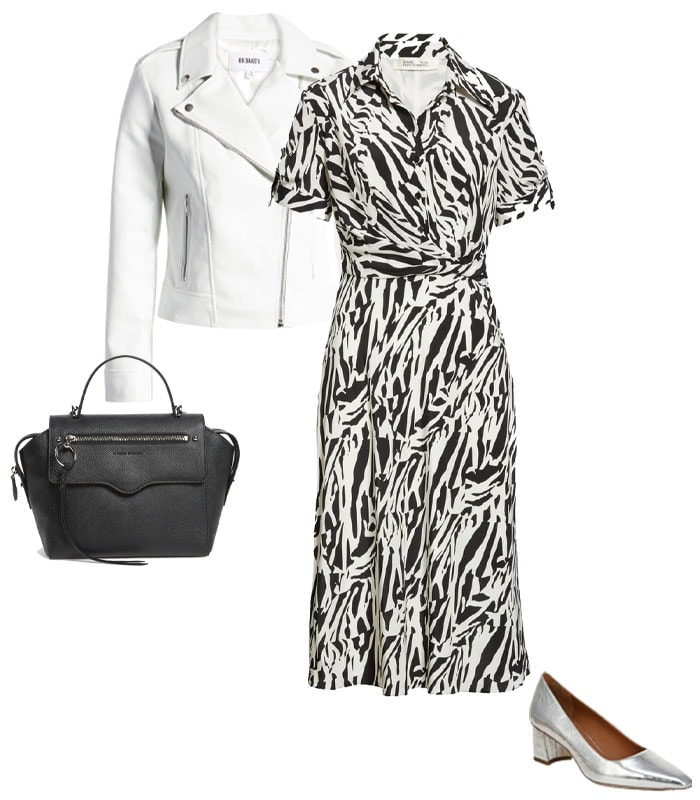 A midi dress with a denim or moto jacket & booties | 40plusstyle.com