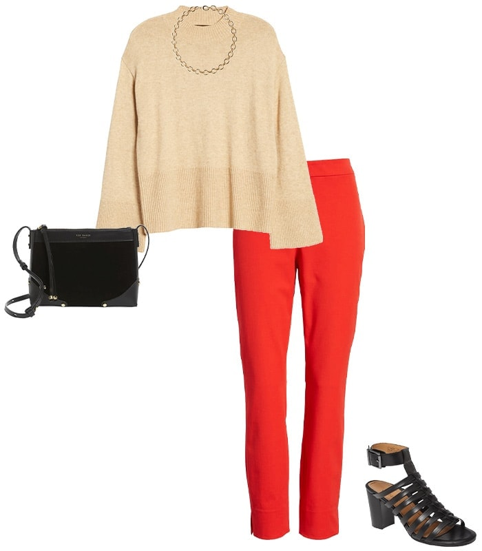 a beige and red outfit idea | 40plusstyle.com