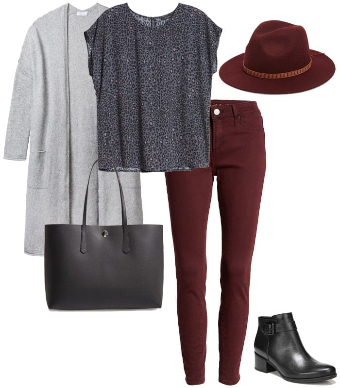 wearing gray with burgundy | 40plusstyle.com