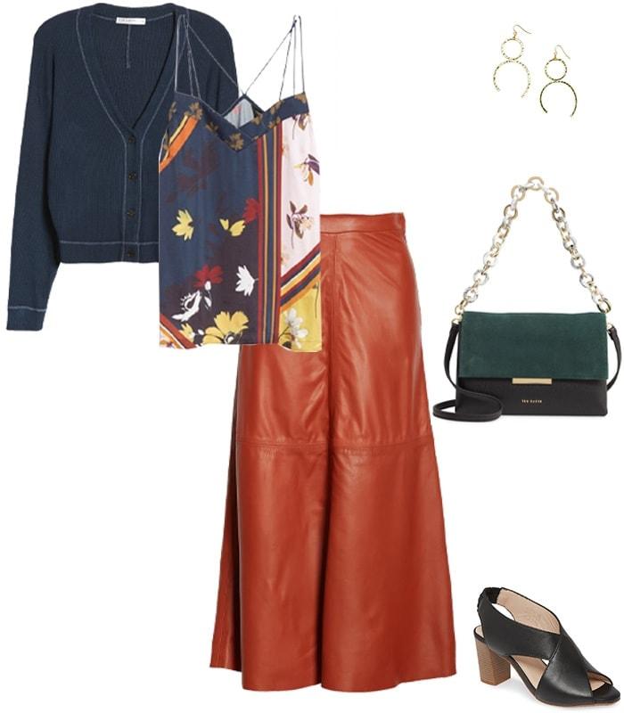 a leather midi skirt outfit idea | 40plusstyle.com