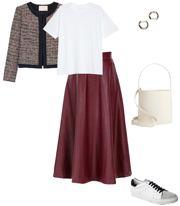 a retro style leather skirt outfit idea | 40plusstyle.com