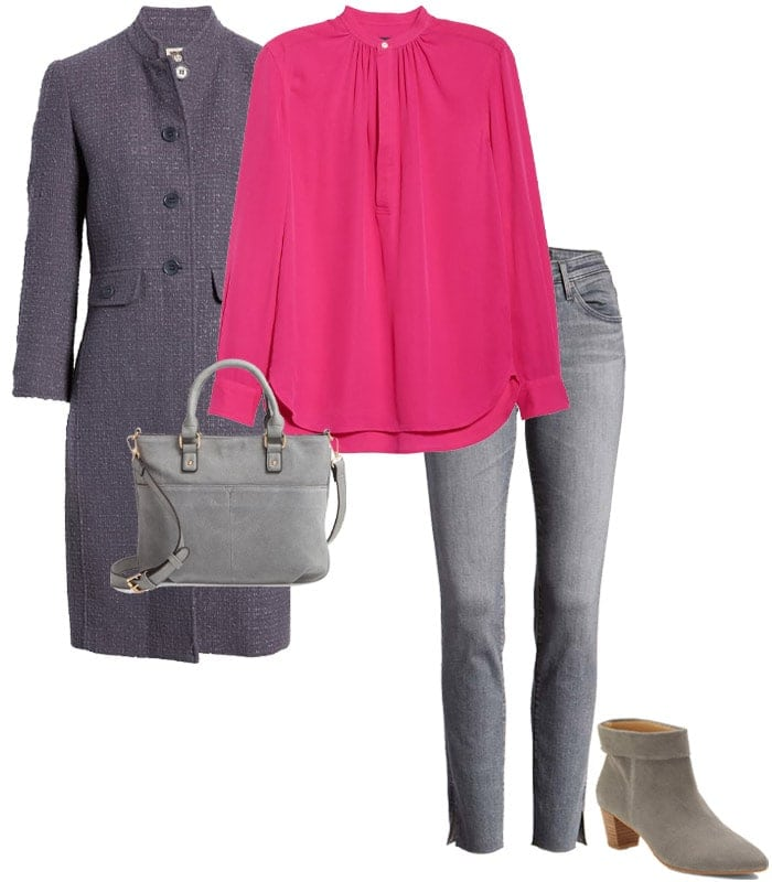 Combining gray with shocking pink | 40plusstyle.com