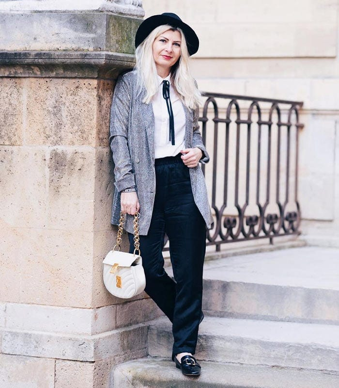 wear a blazer with black pants | 40plusstyle.com