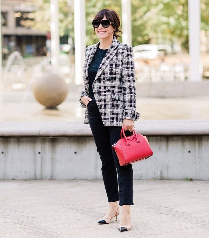 Susie wears a blazer outfit which would be perfect for a business conference | 40plusstyle.com