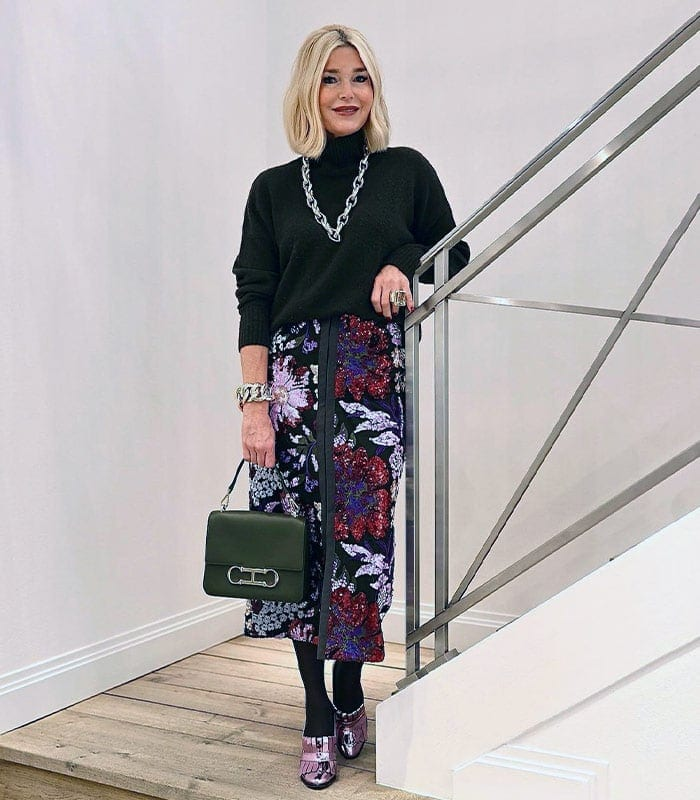 How to dress for a Christmas party - Petra in a sequin skirt | 40plusstyle.com