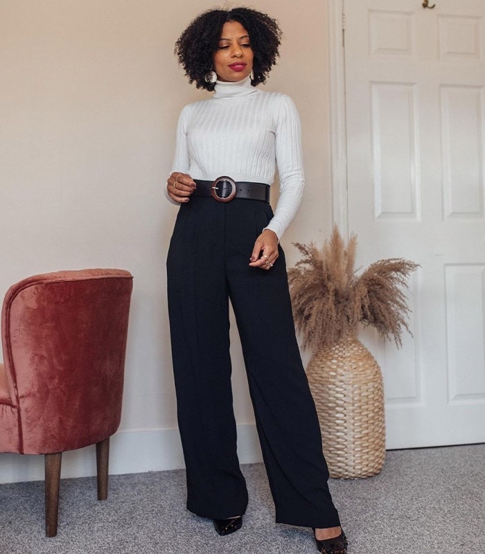 Eleanor makes her legs look longer with high-waisted pants | 40plusstyle.com