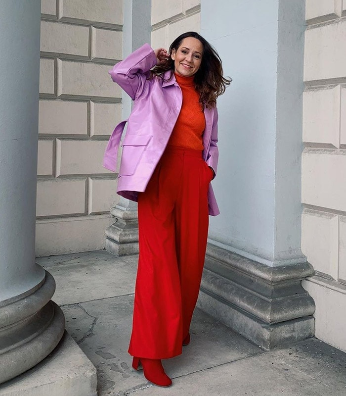 Vanessa wears a red turtleneck and matching pants | 40plusstyle.com