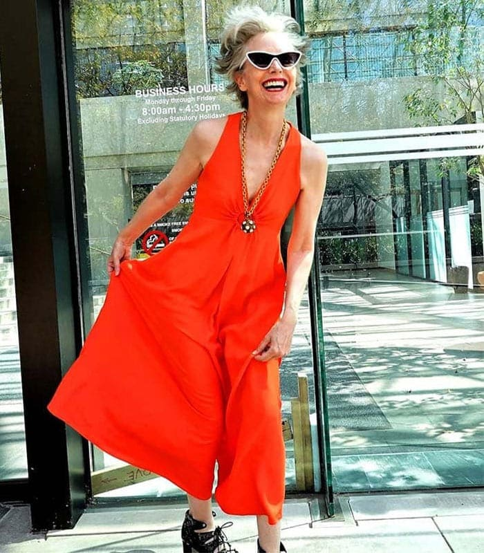 Mel in cropped red jumpsuit | 40plusstyle