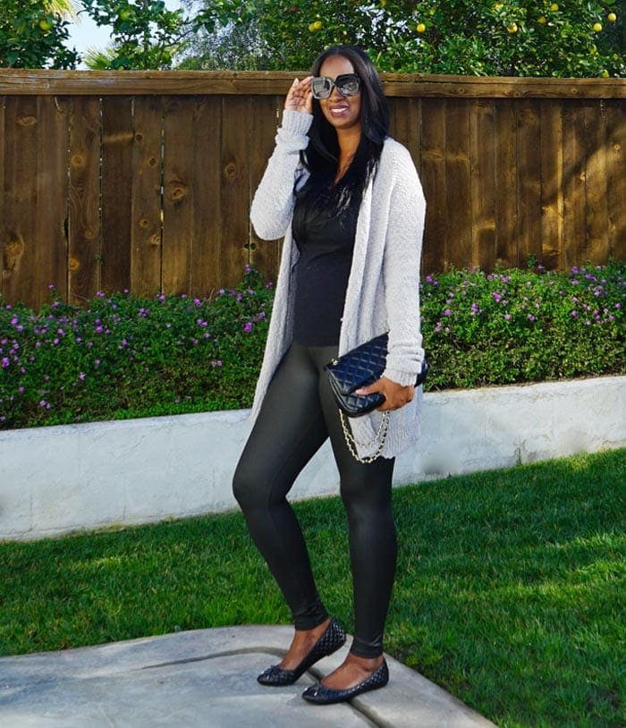 Tanasha wears ballet flats with leather leggings | 40plusstyle.com