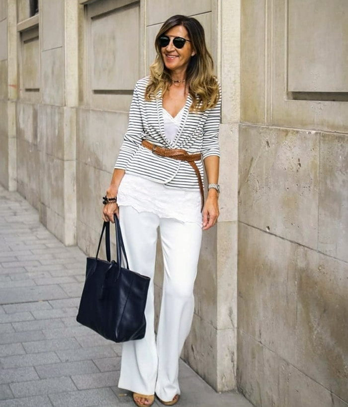 how to dress the pear shaped body - a striped blazer and jeans | 40plusstyle.com