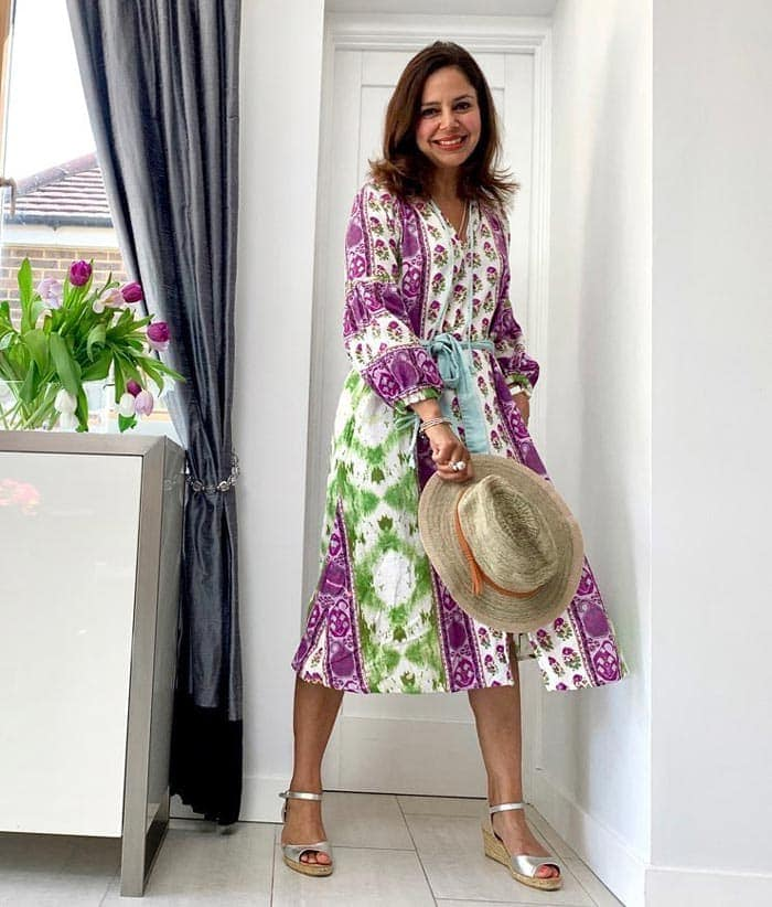a boho dress with silver sandals | 40plusstyle.com