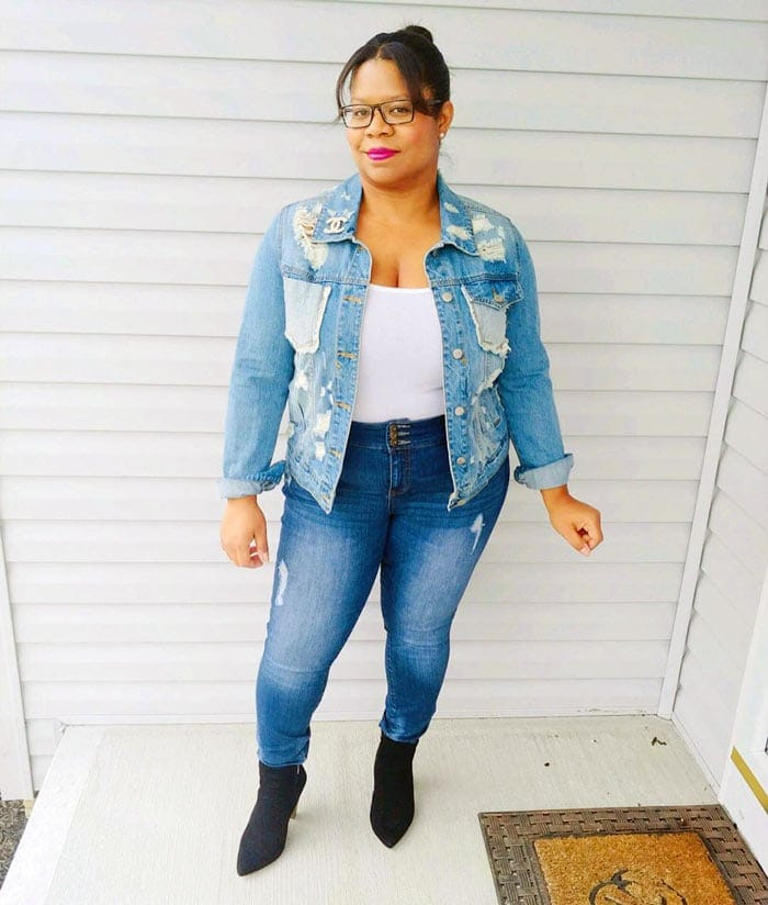 ripped denim jacket and jeans   40plusstyle.com