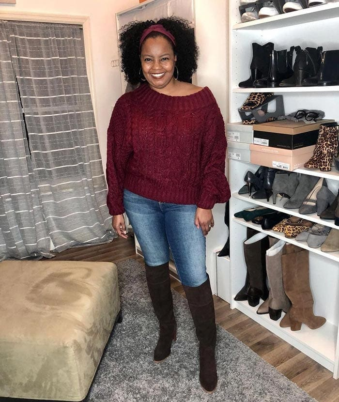 Shonte wears jeans and over the knee boots | 40plusstyle.com