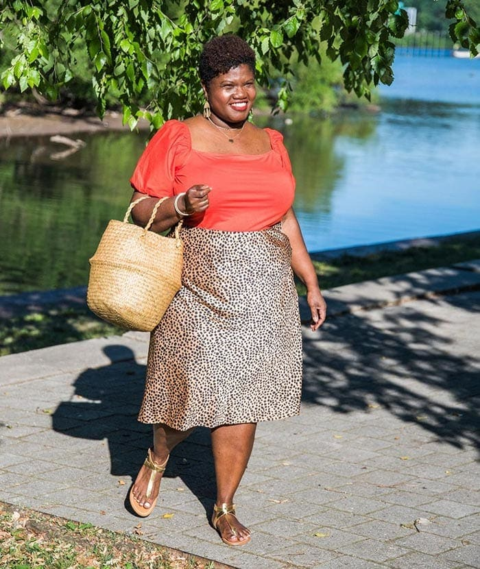 Skirts to fit a belly - Georgette in a bias cut skirt   40plusstyle.com