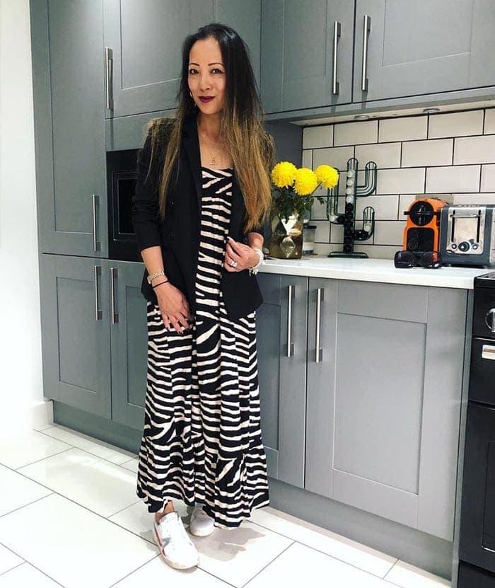 striped maxi dress and blazer | 40plusstyle.com