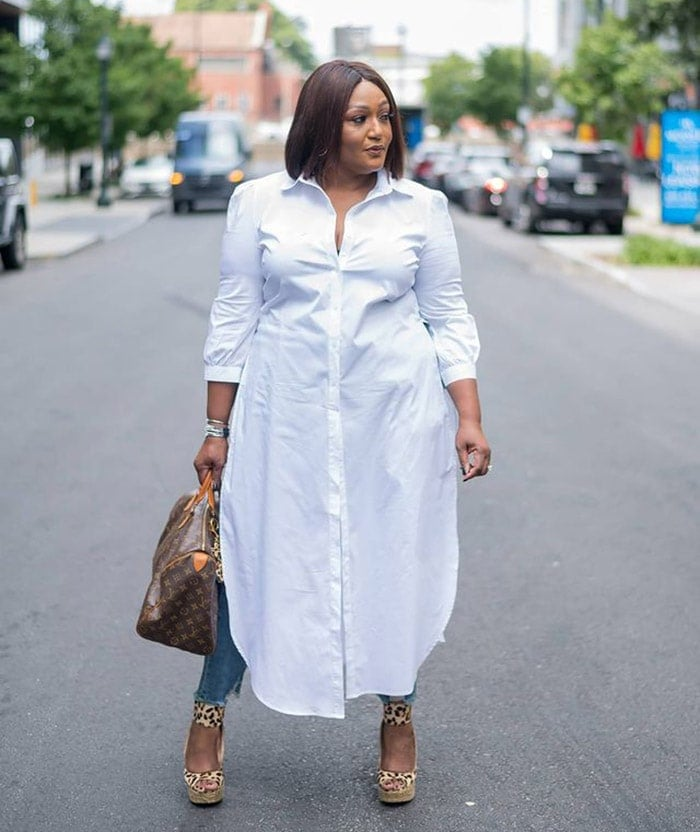 How to layer clothes - Nikki wears a shirt dress over jeans | 40plusstyle.com