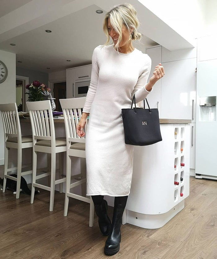 Abi wears a sweater dress with boots | 40plusstyle.com