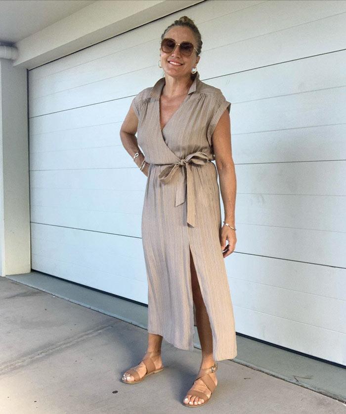 a tie waist metallic dress | 40plusstyle.com