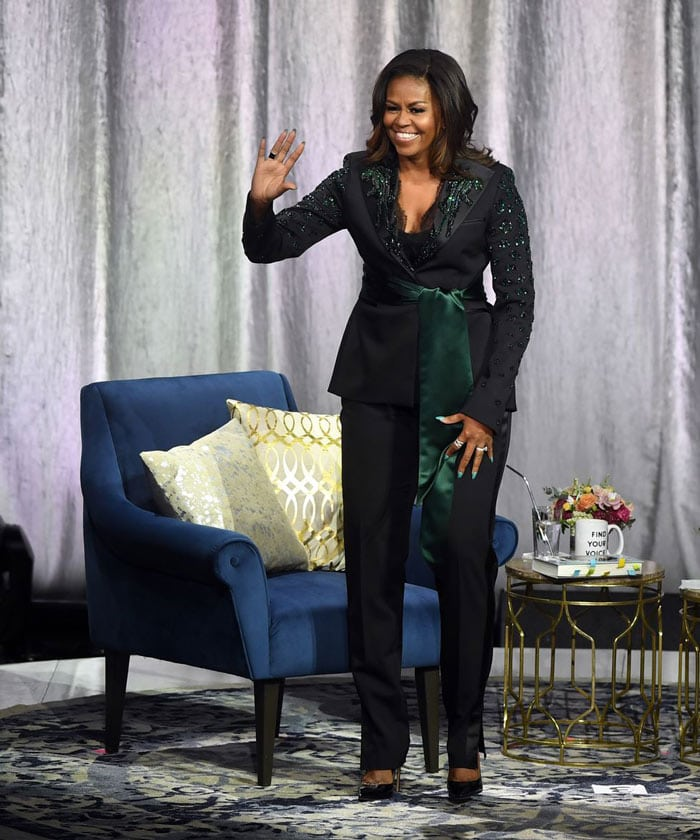 Michelle Obama wearing a tie blazer | 40plusstyle.com
